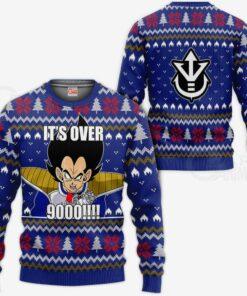 Vegeta Ugly Christmas Sweater It's Over 9000 Funny DBZ Xmas Gift VA10 - 1 - GearAnime